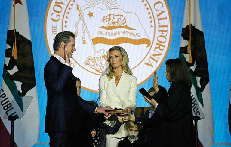 Newsom sworn in as state's 40th governor